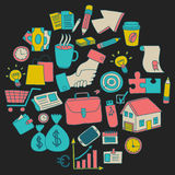 Vector set of doodle business icons Royalty Free Stock Photography