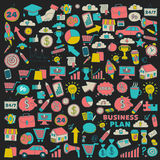 Vector set of doodle business icons Stock Photography