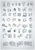 Vector set of doodle business icons with motivational speach bubbles Stock Images