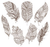 Vector set of doodle feathers on white background Royalty Free Stock Photography
