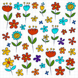Vector set of doodle flowers Stock Image