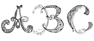 Vector set with doodle hand written ABC letters. Ornamental font Royalty Free Stock Photography
