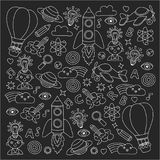 Vector set of doodle icons Blackboard chalk background - creativity and inspiration, idea and imagination, innovation Stock Photos