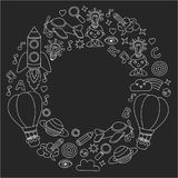 Vector set of doodle icons Blackboard chalk background - creativity and inspiration, idea and imagination, innovation Royalty Free Stock Images