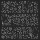Vector set of doodle icons Blackboard chalk background - creativity and inspiration, idea and imagination, innovation Royalty Free Stock Photo