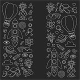 Vector set of doodle icons Blackboard chalk background - creativity and inspiration, idea and imagination, innovation Stock Photo