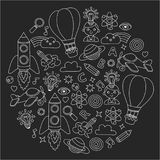 Vector set of doodle icons Blackboard chalk background - creativity and inspiration, idea and imagination, innovation Royalty Free Stock Image