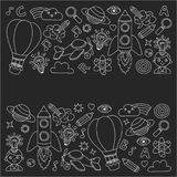 Vector set of doodle icons Blackboard chalk background - creativity and inspiration, idea and imagination, innovation Stock Photography