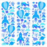 Vector set of doodle icons on following themes - creativity and inspiration, idea and imagination, innovation and Royalty Free Stock Photos