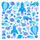Vector set of doodle icons on following themes - creativity and inspiration, idea and imagination, innovation and Stock Photos