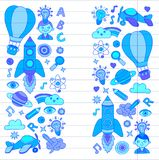 Vector set of doodle icons on following themes - creativity and inspiration, idea and imagination, innovation and Stock Photography