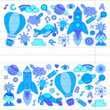 Vector set of doodle icons on following themes - creativity and inspiration, idea and imagination, innovation and Stock Image