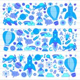 Vector set of doodle icons on following themes - creativity and inspiration, idea and imagination, innovation and Stock Photo