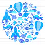 Vector set of doodle icons on following themes - creativity and inspiration, idea and imagination, innovation and Royalty Free Stock Photography
