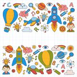 Vector set of doodle icons Notepad checked paper - creativity and inspiration, idea and imagination, innovation and Stock Photography
