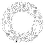 Vector set of doodle icons Notepad checked paper - creativity and inspiration, idea and imagination, innovation and Stock Image