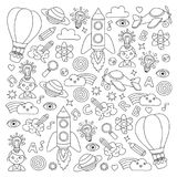 Vector set of doodle icons Notepad checked paper - creativity and inspiration, idea and imagination, innovation and Stock Images