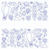 Vector set of doodle icons Notepad checked paper - creativity and inspiration, idea and imagination, innovation and Stock Photo