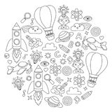 Vector set of doodle icons Notepad checked paper - creativity and inspiration, idea and imagination, innovation and Royalty Free Stock Photos