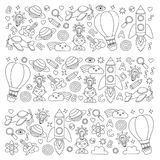 Vector set of doodle icons Notepad checked paper - creativity and inspiration, idea and imagination, innovation and Royalty Free Stock Photo