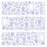 Vector set of doodle icons Notepad checked paper - creativity and inspiration, idea and imagination, innovation and Royalty Free Stock Image