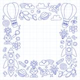 Vector set of doodle icons Notepad checked paper - creativity and inspiration, idea and imagination, innovation and Royalty Free Stock Images