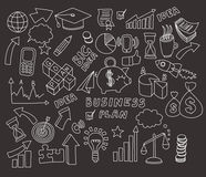 Vector set of doodle images Business and finance. Hand drawn elements Royalty Free Stock Photos