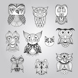 Vector Set of 10 Doodle Owls. Fully editable eps 10 file Stock Photos