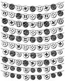 Vector Set of Doodle Style Button Bunting. And Decoration Royalty Free Stock Image