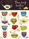 Vector set of doodle tea cups. Series of doodles. Royalty Free Stock Photography