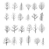 Vector set of doodle trees. Hand drawn natural border Stock Photography
