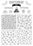Vector set of doodles birthday seamless patterns. Royalty Free Stock Photo