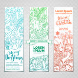 Vector set of doodles Christmas banners. Royalty Free Stock Photo