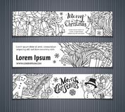 Vector set of doodles Christmas banners. Royalty Free Stock Image