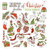 Vector set of doodles Christmas design elements. Stock Image