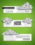 Vector set of doodles clouds horizontal banners. Stock Photos