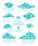 Vector set of doodles clouds and rain. A lot of various cartoon ornamental clouds and rain drops isolated on white background stock illustration
