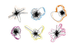 Vector set of doodles with color strokes. Royalty Free Stock Image