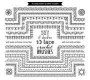 Vector set of 10 doodles lace crochet seamless brushes. Outer and inner corner tiles, start and end tiles included. Sketch knitting edging patterns Royalty Free Stock Images