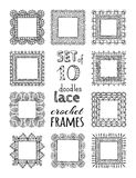 Vector set of 10 doodles lace crochet square frames. Royalty Free Stock Images
