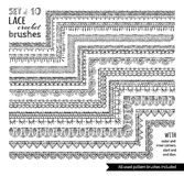 Vector set of 10 doodles lace knitting seamless brushes. Stock Photography