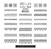 Vector set of 20 doodles lace seamless brushes. Royalty Free Stock Photos