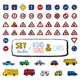 Vector set of doodles road signs and cars. Royalty Free Stock Photo