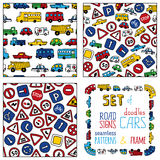 Vector set of doodles road signs and cars. Stock Image