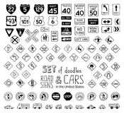 Vector set of doodles road signs in the United States and cars. Royalty Free Stock Photo