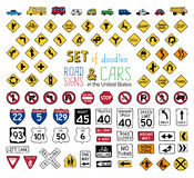 Vector set of doodles road signs and vehicles. Royalty Free Stock Photo