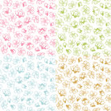 Vector set of doodles seamless spring blossoms patterns. Coloured contours of flowers from fruit trees on white background. Duotone boundless backgrounds Stock Photo
