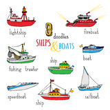 Vector set of doodles ships and boats. Stock Images
