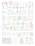 Vector set of doodles work place objects. Royalty Free Stock Image