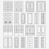 Vector set of doors. Collection of stylized interior doors. Linear Art. Royalty Free Stock Image